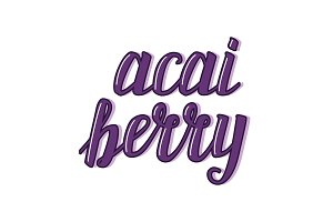 Cute acai berry calligraphic