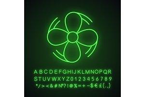 Air ventilation neon light icon