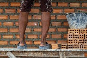 Closeup leg of professional construc
