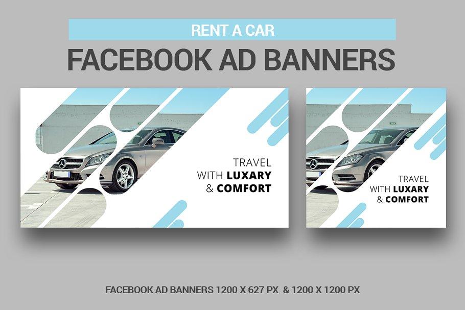 Rent A Car Facebook Ad Banners Creative Photoshop Templates Creative Market