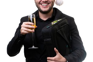 Photo of man in Santa hat with