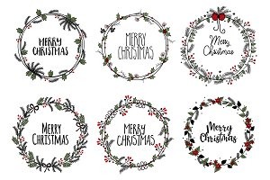 Merry Christmas branches wreath