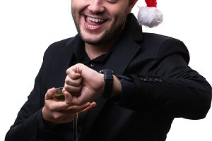 Photo of happy man in santa hat with
