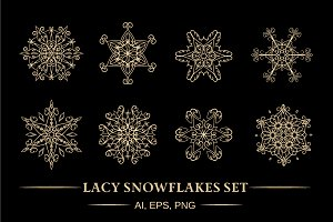 Lacy snowflakes set