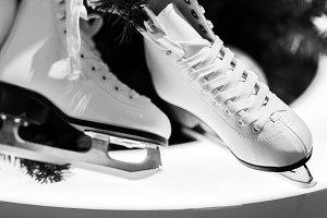 Black and white photo of skates