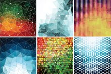 6 Polygon Backgrounds in Vector