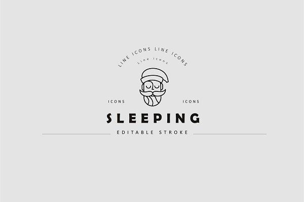 Time to sleep icons collection