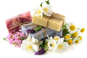 Soap bars with fresh flowers