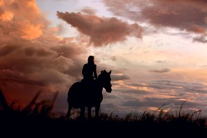 Horse and girls on storm clouds