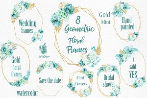 Geometric Floral Frames clipart