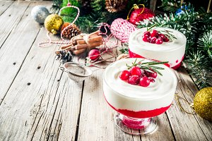 Cranberry panna cotta or cheesecake