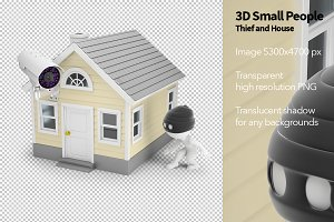 3D Small People - Thief and House