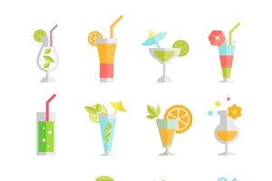 Alcoholic cocktails icons