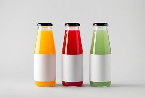 Juice Bottle Mock-Up - Three Bottles