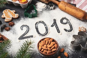 New Year 2019 written on flour