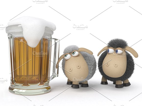 Sheep with beer in Illustrations