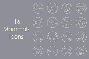 16 MAMMALS simple icons