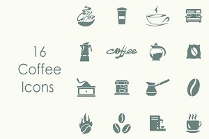 16 COFFEE simple icons