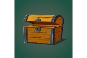 Isolated opened pirate chest