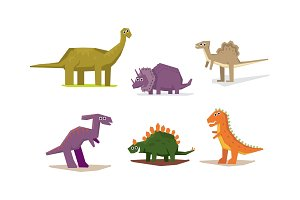 Dinosaurs set, cute geometric