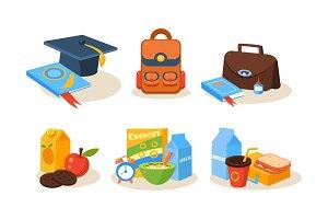 Different school supplies set