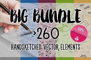 BIG BUNDLE 260 Handsketched Vectors