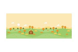 Autumn rural landscape with village