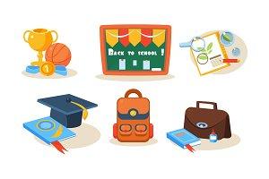 School icons set, back to school