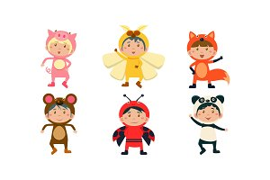 Kids in carnival costumes set, cute