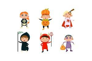 Kids in Halloween costumes set