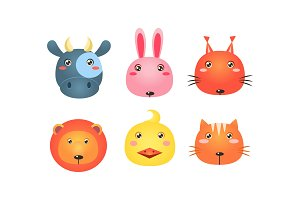 Cute animal heads set, funny faces