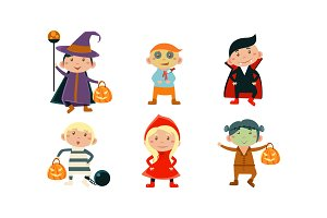 Children in colorful Halloween