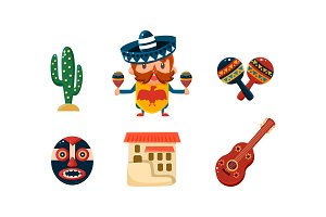 Mexico icons set, Mexican cartoon