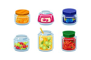 Collection of glass jars with