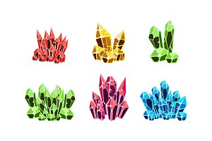 Colorful crystals set, mineral