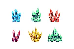 Colorful glossy crystals set