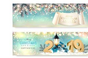 Holiday christmas light banners