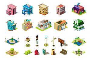 Isometric buildings and element map