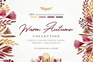 Warm Autumn watercolor clipart