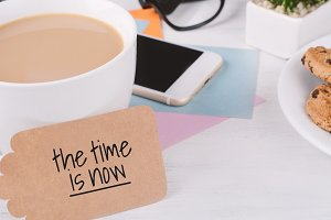 """Paper card with """"the time is now"""" te"""