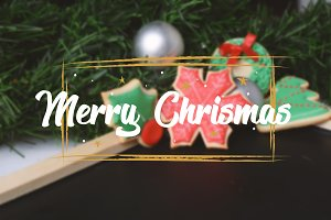 Christmas cookie with text Merry Chr