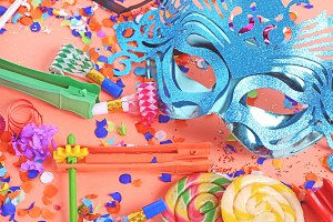 Purim background with carnival mask