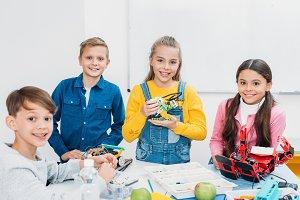 children study at school