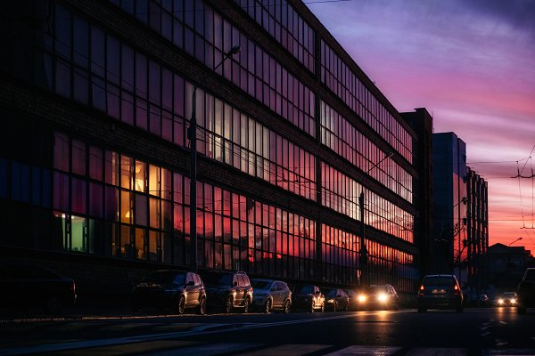 Glass building with color reflectio…