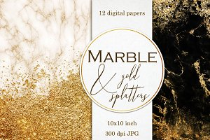 Marble & Gold splatters papers