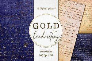 Gold Handwriting - Digital papers