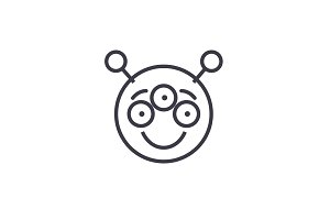 Alien Emoji concept line editable