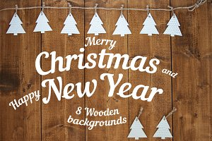 Christmas New Year wooden background