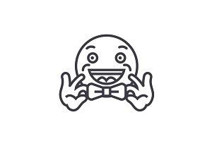 Bow Tie Emoji concept line editable