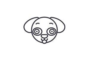 Doggy Emoji concept line editable